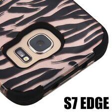 For Samsung Galaxy S7 Edge - HARD&SOFT RUBBER HYBRID ARMOR CASE ROSE GOLD ZEBRA