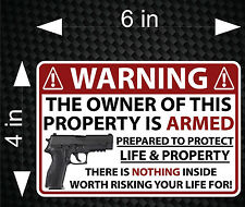 "6"" WARNING Owner Armed 2nd Amendment Gun Firearm Pistol Permit Decal Sticker"