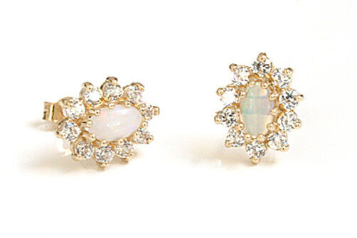 9ct gold Opal and CZ Cluster Studs earrings Gift Boxed Made in UK Birthday Gift