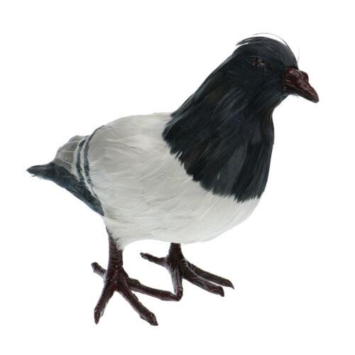 Artificial Feather Gray Pigeon Furry Animal Taxidermy Figurine Garden Decor