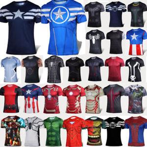 Mens-Sports-Jersey-Tops-Compression-Tee-T-shirt-Short-Sleeve-Tee-Superhero-Shirt