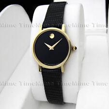 Women's Movado MUSEUM CLASSIC 14K Solid Gold Mini Black Dial Swiss Quartz Watch