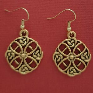 Celtic-Circle-Earrings-Gold-plated-religious-dangle-drop-religion-Statement