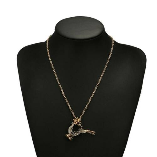 Xmas Gift Elk Long Necklace Deer Pendant Jewelry Choker Necklaces for Women