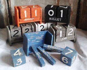 Ewiger-KALENDER-Holz-Holzwuerfel-Dauerkalender-Vintage-Shabby-chic-Tischkalender