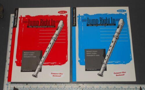 JUMP RIGHT IN SOPRANO RECORDER BEGINNER INSTRUCTIONAL BOOKS 1 /& 2 W CD/'S