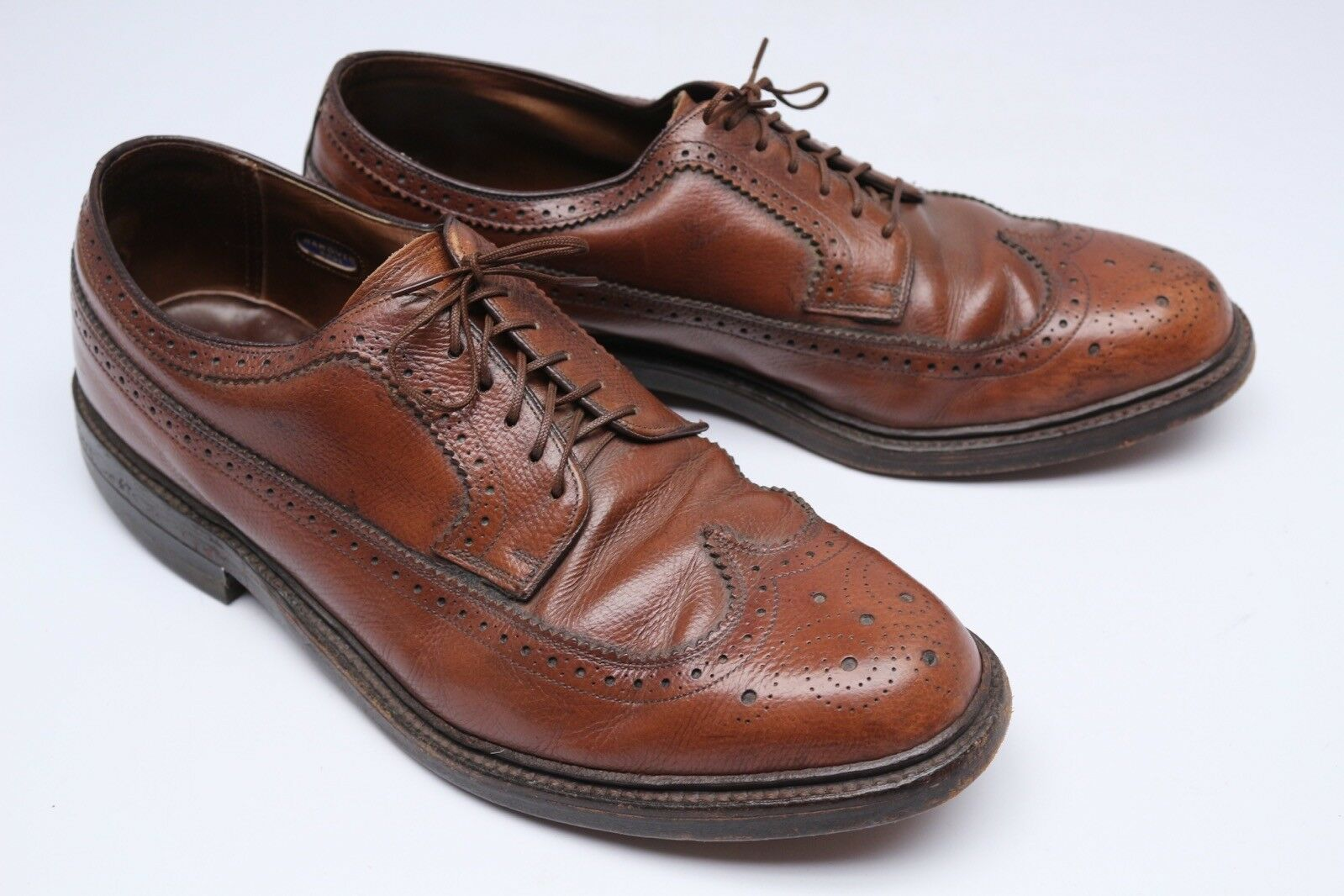 VTG Hanover Mens shoes 10.5 EE D Brown Leather Longwing bluecher Sheppard Wingtip