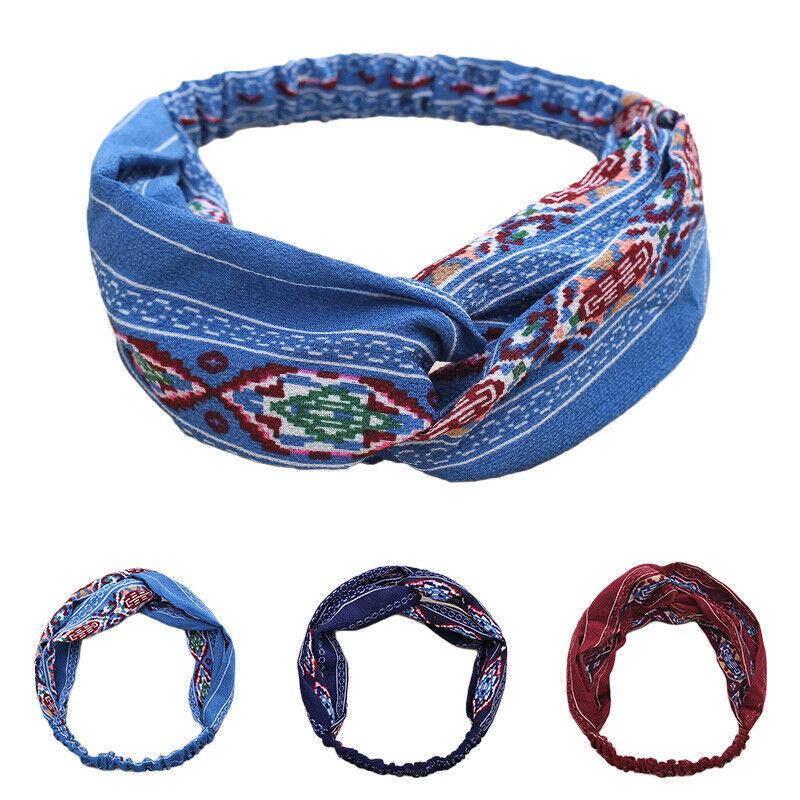 Las hembras Kaden pelo cintas Print cintas vintage cruz turbante bandanas