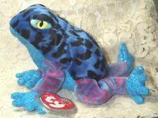e3df3944b73 Dart 7in Ty Beanie Babie Baby Retired 2001 Blue Spotted Plush Frog 4352