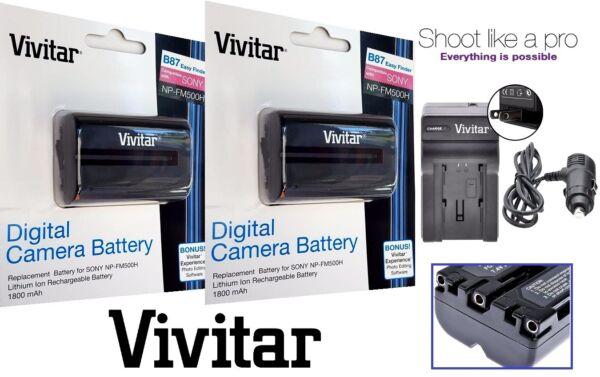Alerte 2-pc Np-fm500h Lithium-ion Batterie Et Chargeur Pour Sony Alpha A68 A77 Ii A99v