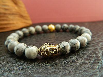 Men Natural Scenery Jasper Beaded Buddha Bracelet.Hip Hop.Gift.Gold.Silver