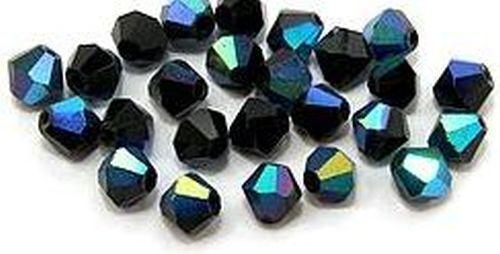 6mm #02 A//B Negro 25 bicone de vidrio esmerilado perlas aprox