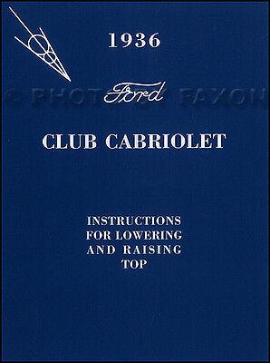 1936 Ford Club Convertible Cabriolet Top Proprietari Manuale Con Busta Guida