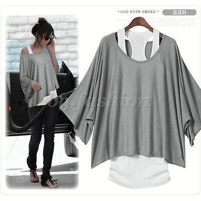 Women's Batwing Dolman Sleeve T shirt Casual Loose Top Blouse + Tank Vest 2Pcs