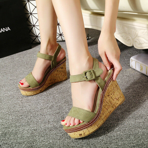 Schuhe ciabatte sabot Sandaleei tacco zeppa 10.5 cm verde corda  elegante CW867