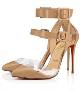 outlet store 162c0 142de Details about Christian Louboutin Pumps Women Multimiss Buckle High Heels  Sandals Nude Shoes