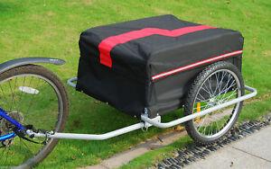 Bike Cargo Trailer w/ Rain Cover Bicycle Large Carrier Cart Yard Patio