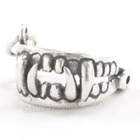 3d Fangs Vampire Teeth Dracula Bite 925 Sterling Silver Halloween Charm Moveable