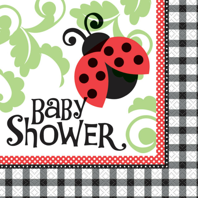 LIVELY LADYBUGS Baby Shower Boy Girl Party Tableware Decorations Paper Napkins