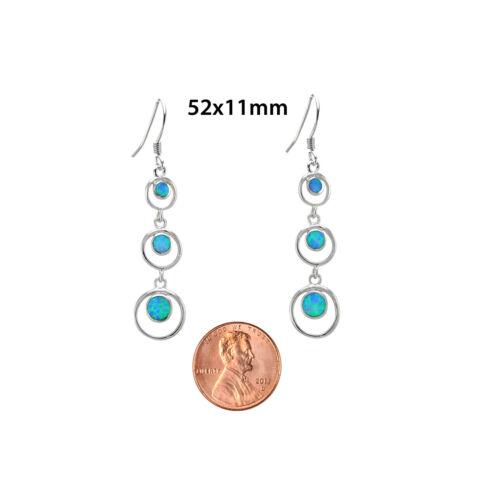Opal Triple Open Circle Dangle Earrings 925 Sterling Silver 52mm x 11mm