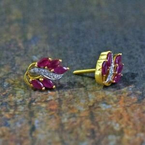 1-50-Ct-Marquise-Cut-Ruby-amp-Diamond-Stud-Earrings-Solid-14K-Yellow-Gold-Over