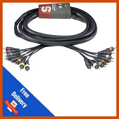 Effects Patch Multicore Cable 8-Way 3m RCA Phono to RCA Phono Loom