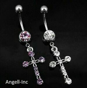 Details About Cross Belly Button Piercing Bars Barbells Navel Crystal Body Bar Drop Dangle Uk