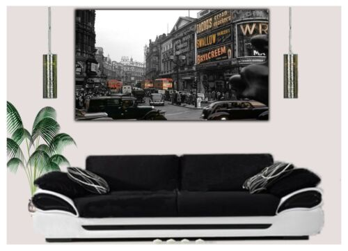 LONDON OLD PHOTO BLACK AND WHITE  PHOTO  PRINT ON WOOD  FRAMED CANVAS WALL ART