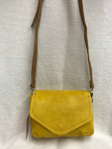Faux Leather Flapover Style Across Body Messenger Handbag 2 Compartments Mustard