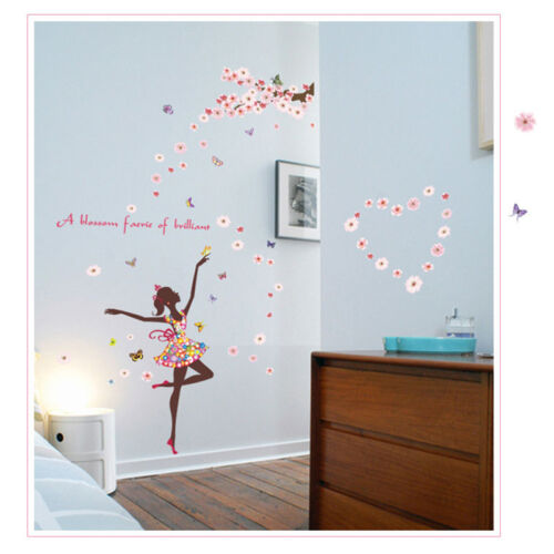 Flower Wall Sticker Vinyl Butterfly Fairy Dance Girl Kids Room Decor Removable