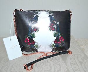 72aea5ab169a NWT  129 TED BAKER Evra Bejeweled Black Leather Crossbody Bag Rose ...