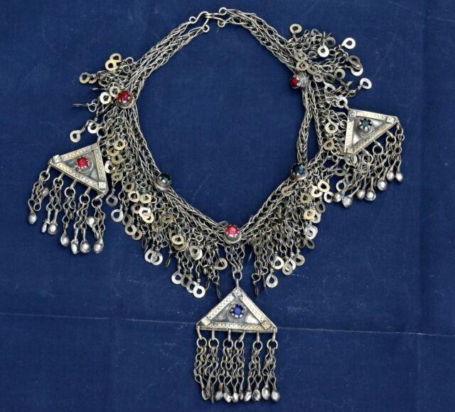 Kashmiri Afghan Trible Belly Dance Necklace Vintage Handmade Kuchi Necklace Ethnic Boho Gypsy Indian Banjara Unique Pendant Necklace Jewelry