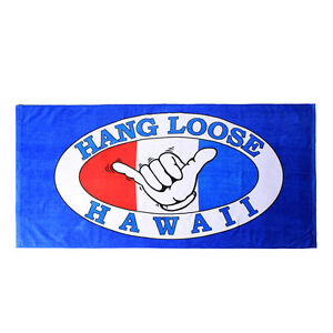 Hawaii-Beach-Towel-100-Cotton-Large-60x30-Blue-Hang-Loose-Aloha-Surfer-Y-Sign