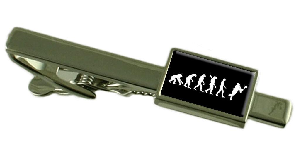 Evoluzione Evoluzione Evoluzione Scimmia a Man Lacrosse Fermacravatta Inciso Personalizzato Scatola 110c01