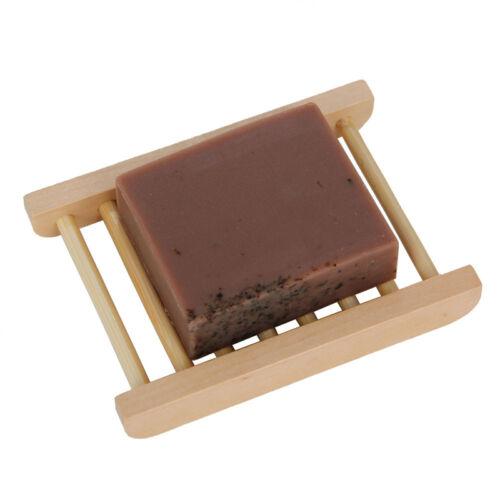 1 Pcs Bamboo Platane Wood Soap Dish Bathroom Shower Corrugat Tray Holder Rack