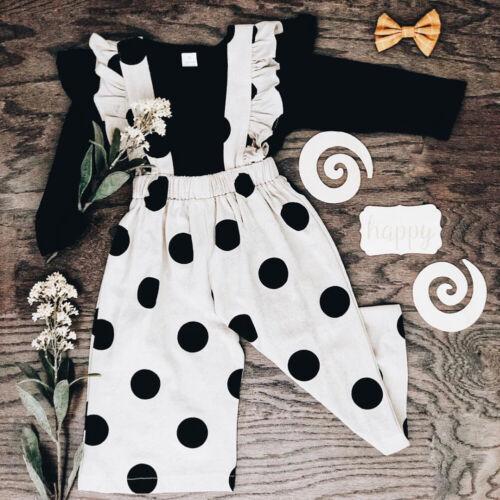 UK Kid Baby Girl 2PCS Autumn Winter Clothes Ruffle Tops T-shirt+Bib Pants Outfit