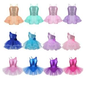 Girls-Sequins-Camisole-Ballet-Dress-Leotard-Tutu-Skirt-Shiny-Ballerina-Dancewear