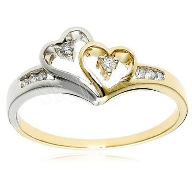0.16ctw NATURAL DIAMOND 14K YELLOW  WHITE gold WEDDING ANNIVERSARY RING