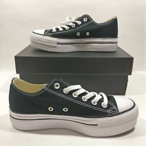 7d14c80b00 Details about Womens Converse Chuck Taylor All Star Low Black Platform Ox  Shoe Multi Size