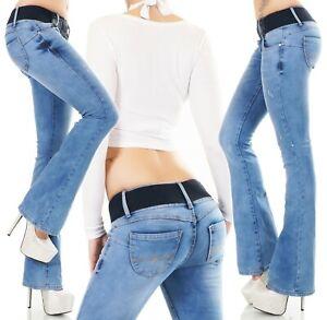 Damen Push Up Bootcut Jeans Hose Schlaghose Denim Stretch Gürtel XS S M L XL