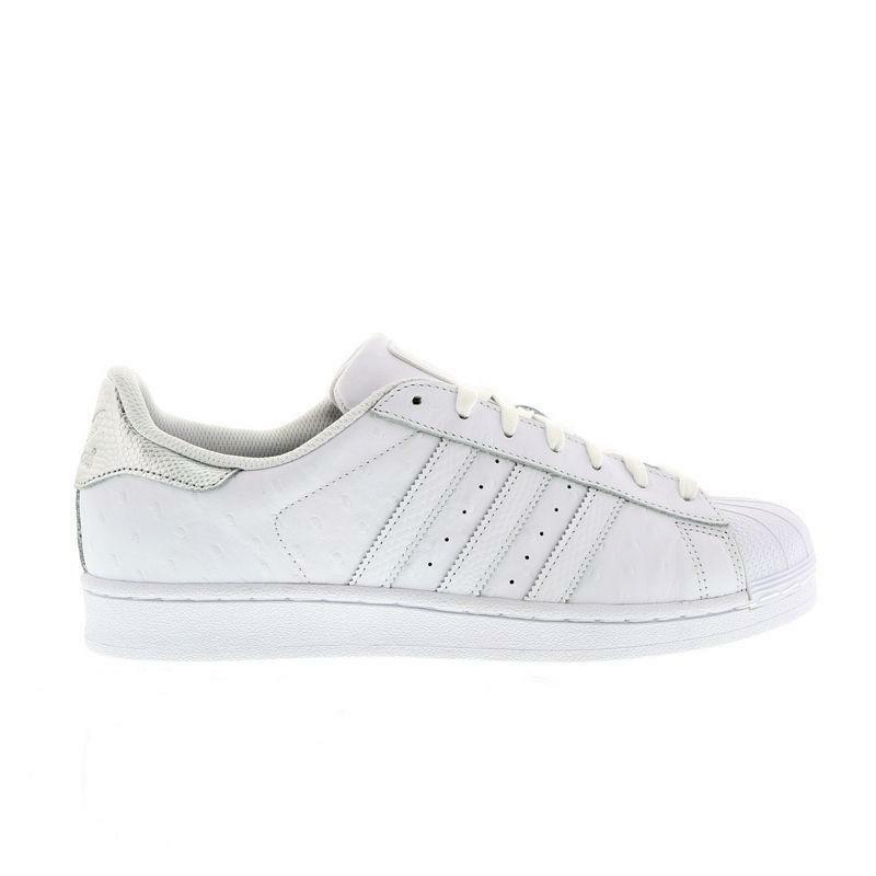 Hombre Adidas Superstar blancoo Plata Zapatillas de Piel S80341