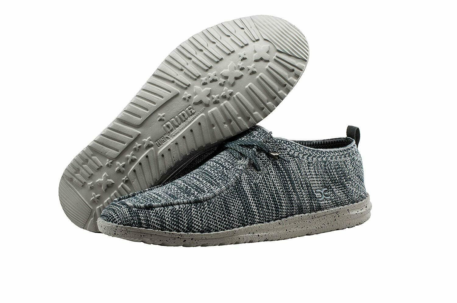 Men Hey Dude Wally Knit Slipper 111273039 Multi Grey 100% Original Brand New