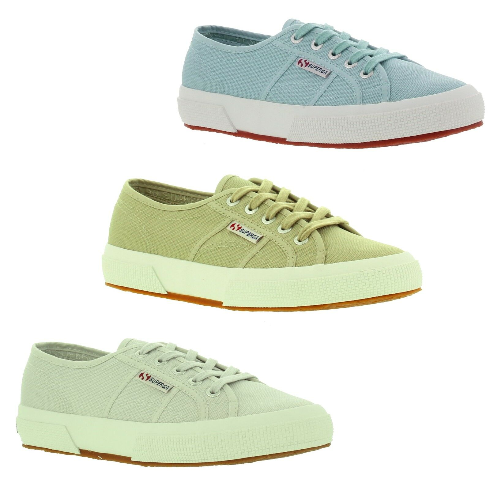 Superga 2750 Cotu Womens Canvas Blue Grey Beige Trainers Shoes Size