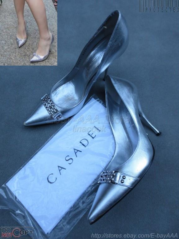 Zapatos de Cuero usado en excelente estado estado estado  750 Casadei Plata Rhinestoned Bombas Tacones 40EU 10US  vendiendo bien en todo el mundo
