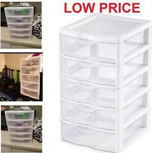 5 Drawer Tower Plastic Organizer Storage Office Cabinet