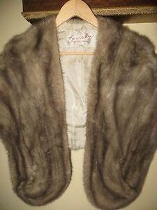 Fur-Salon-Eaton-of-Canada-Sapphire-Grey-Silver-Mink-Fur-Stole-Shawl-Medium-Large