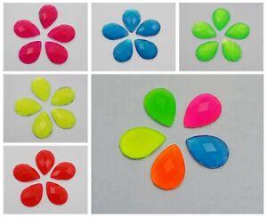 100-Neon-Color-Flatback-Acrylic-Teardrop-Rhinestone-Gems-No-Hole-10X14mm