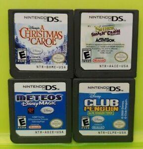 Nintendo DS Lite 2ds 3ds Disney Game Lot Shrek Meteos Penguin Christmas Carol