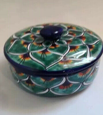Mexican Green Peacock Pottery Talavera Tortilla Holder Warmer Kitchen Canister