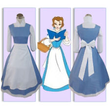 US! Women Girls Princess Belle Blue Maid Dress Halloween Fancy Cosplay Costume